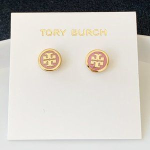 Tory Burch Rose Pink logo earrings